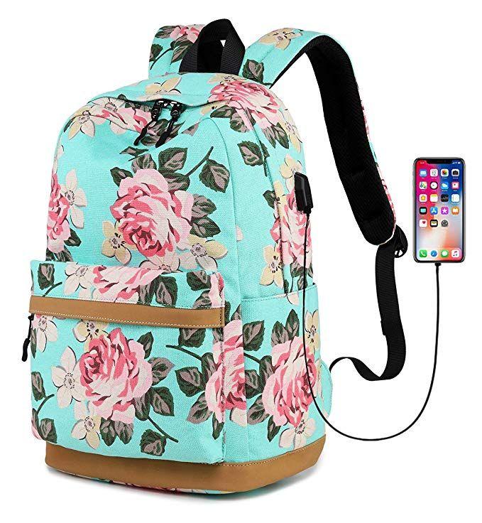 48d3bb9717 Abshoo Cute Canvas Floral Backpacks for Teen Girls School Bookbags (Floral  Light Blue)