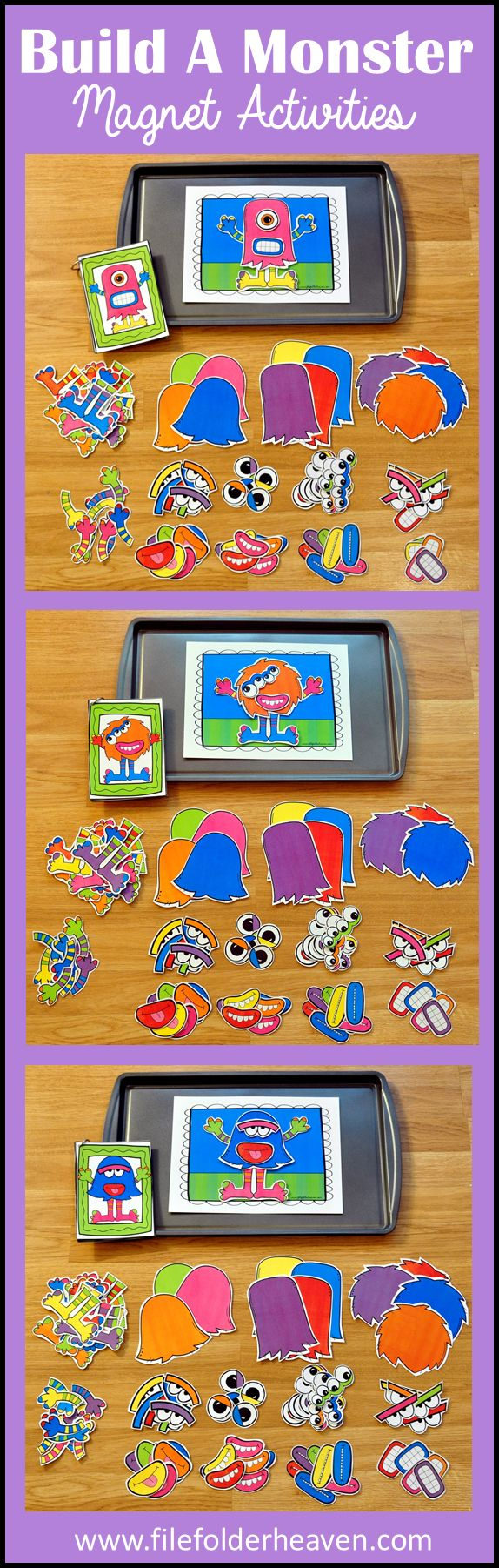 """These Build a Monster Center Activities can be set up as cookie sheet activities, a magnet center or completed as cut and glue activities. This activity includes: 1 background, 12 build a monster example cards, and a HUGE set of """"build a monster"""" building pieces for creative building (all in color).  In this activity, students work on visual discrimination skills, recognizing same and different, and replicating a model."""