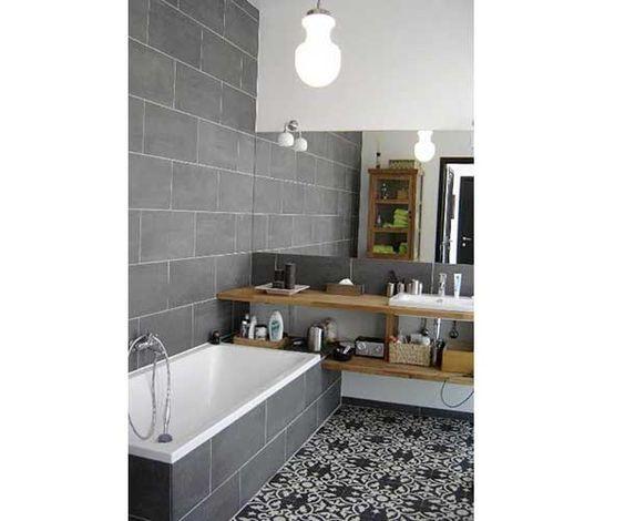 La Déco Salle De Bain En Carreaux De Ciment Cest Chouette - Carrelage salle de bain et tapi deco