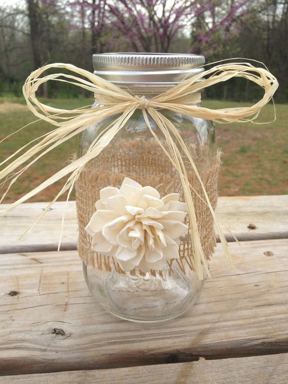 Shabby Chic Rustic Wrapped Mason Jar - Rustic Wedding Decor - without the raffia