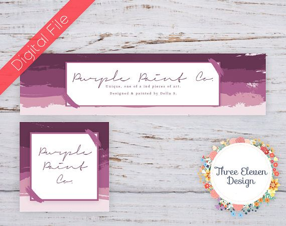 Purple Paint Stroke Etsy Shop Branding