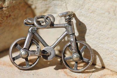 VINTAGE STERLING SILVER MECHANICAL BICYCLE CHARM FOR BRACELET ^