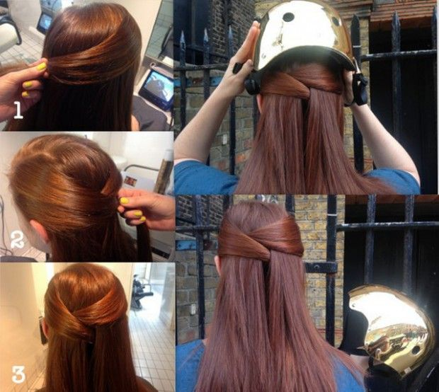 Hairstyles for Helmets: Half-Up Hair Tuck