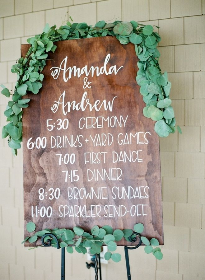 Rustic wooden wedding sign: http://www.stylemepretty.com/north-carolina-weddings/2017/03/14/a-classic-southern-affair-that-totally-embraces-coastal-beauty/ Photography: Rach Loves Troy - http://rachlovestroy.com/