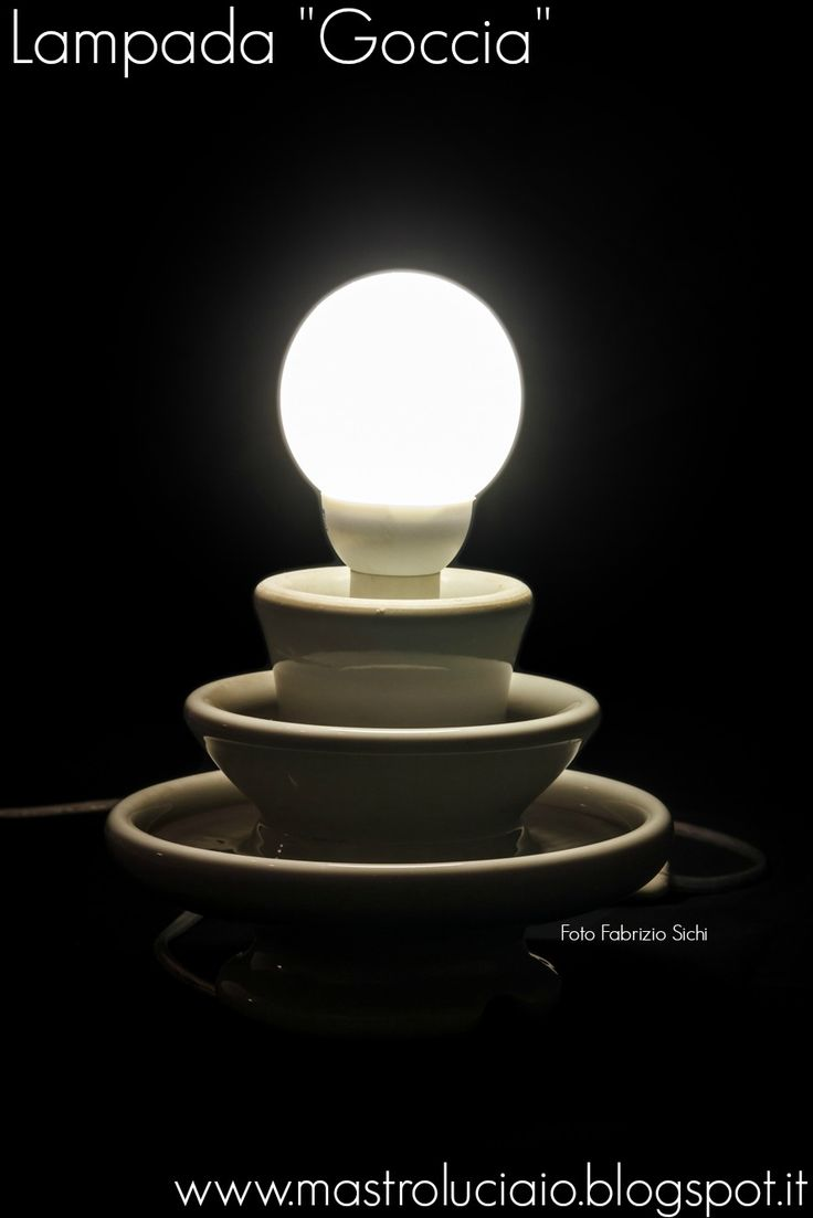 """Goccia"" lamp, made with a white ceramic insulator. #insulator #ceramic #lamp #vintage #redesign #handicraft #recycle #reuse #artigianato #lampade #lights #luci #handmade"
