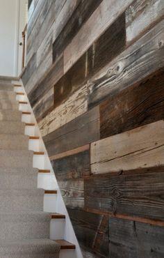 Reclaimed barnwood wall- basement stairs