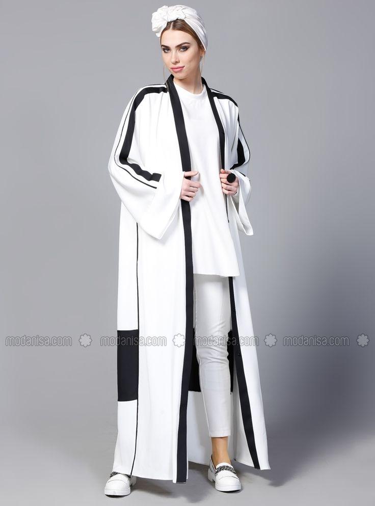 Black - White - Ecru - Unlined - V neck Collar - Abaya - SHEIKHA