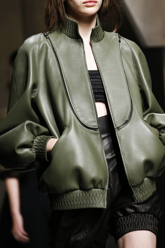 Leather bomber jacket. Fendi Spring 2016 Ready-to-Wear Fashion Show Details