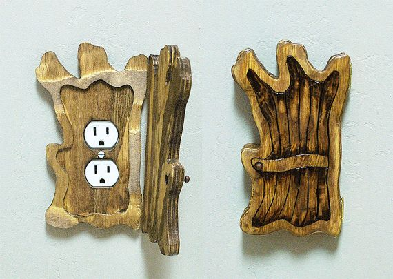 old tree wood fairy elf halfling door outlet by brynandjeremiahs 4350 - Decorative Outlet Covers