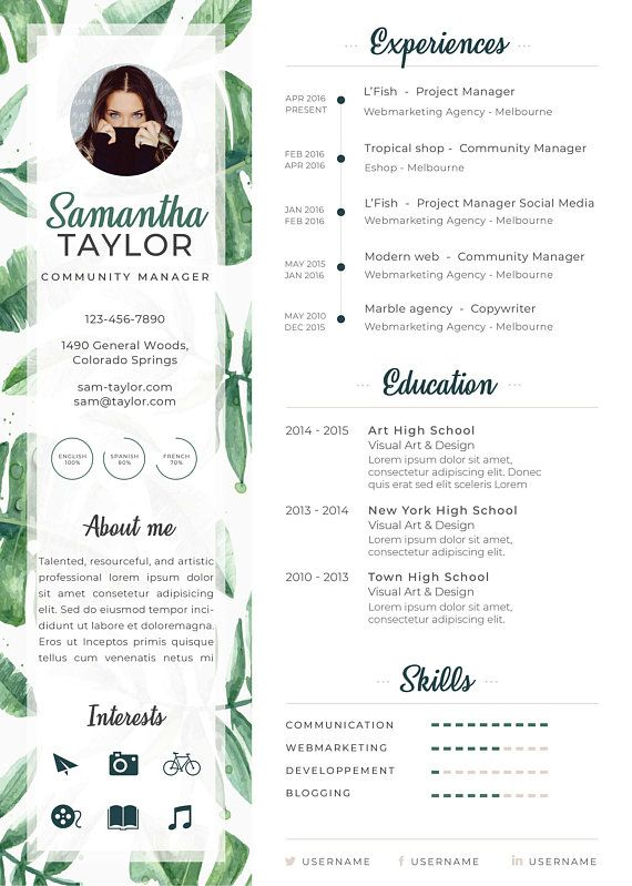 Tropical Leaves Curriculum Vitae Template Resume Cv Cover Letter Creative Design For Photoshop Modele De Cv Creatif Design Cv Creatif Modele Cv