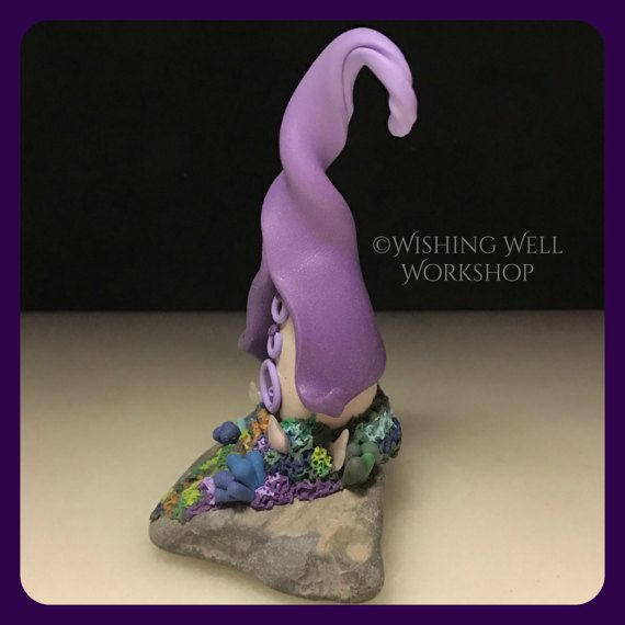 Polymer Clay Lavender Fairy Cottage with by WishingWellWorkshop