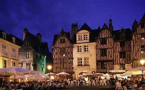 Place Plumereau, city of Tours, in the Loire Valley, France.  Great people watching in a beautiful city.
