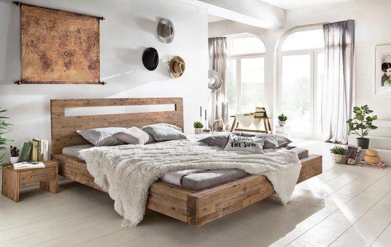 Woodkings Bett Marton 180x200 Holzbett Bettrahmen Doppelbett Ehebett Echtholz Akazie Geburstet Schlafzimmer Mobel Schwebendes Bett Schwebebett Schlafzimmer Massivholz