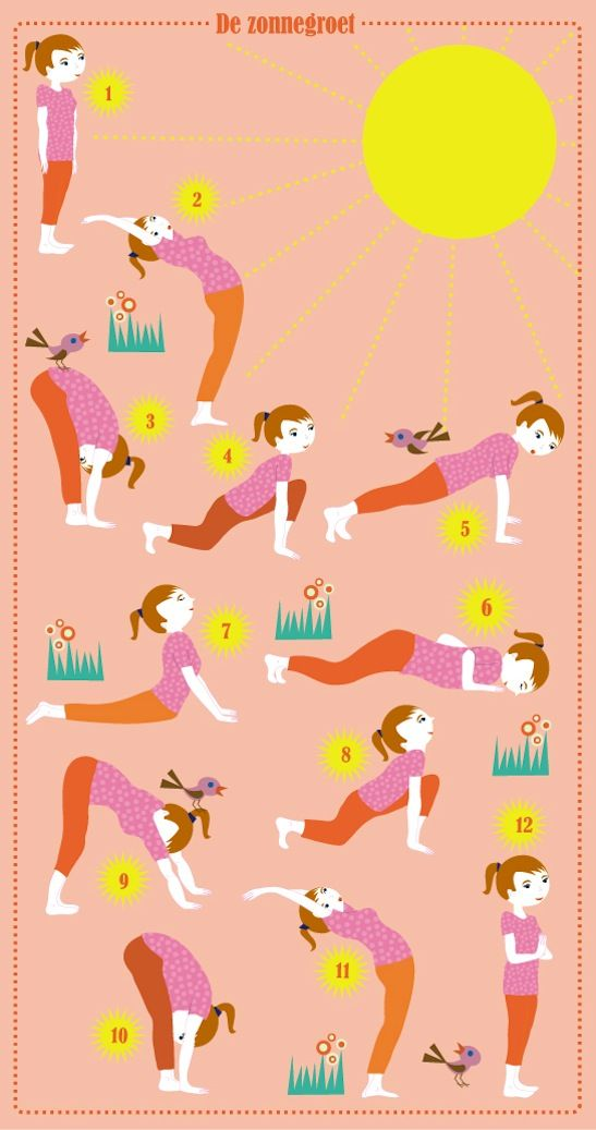 Yoga - Zonnegroet kids illustration