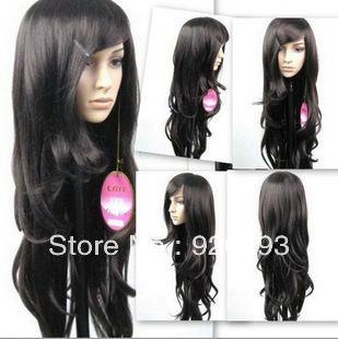 Бесплатно P и P ******* красивые длинные черные волосы волнистые мода женский парик