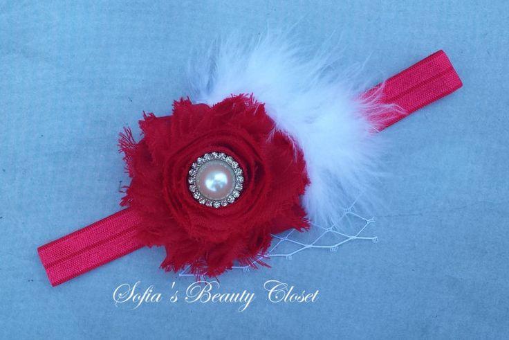 Baby red headband. Shabby chic headband. Red chiffon rose. Christmas headband. Holiday headband. Fancy headband. Red birthday headband by SofiasBeautyCloset on Etsy