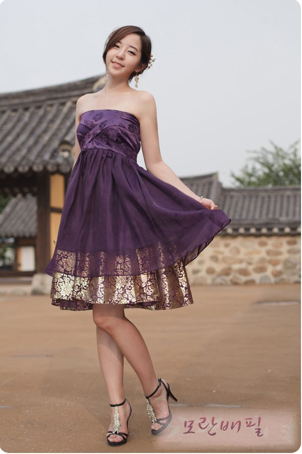 Hanbok cocktail dress - Purple Concept from Hanbok. That gold and purple material underneath is awesome! Must find that material.