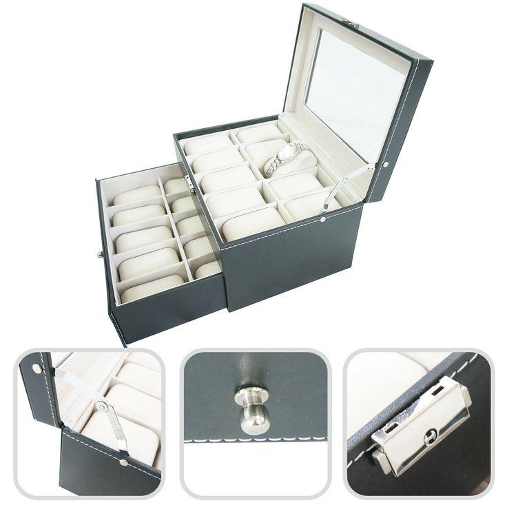 Todeco - Cofre de reloj - Caja de reloj - Mostrador para 20 relojes