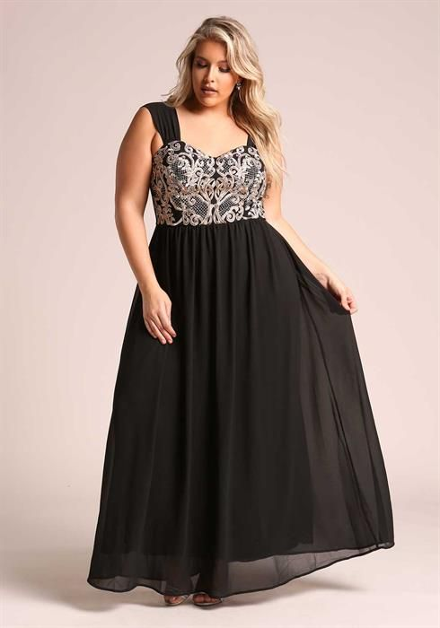 Black Plus Size Maxi Dresses in Chiffon