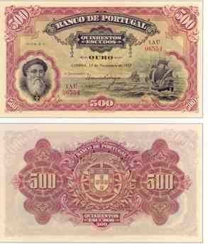 """500 escudos I 1924 , esta nota foi precocemente retirada da circulação devido à maior fraude financeira da nossa história, o caso """"Angola e Metrópole"""""""