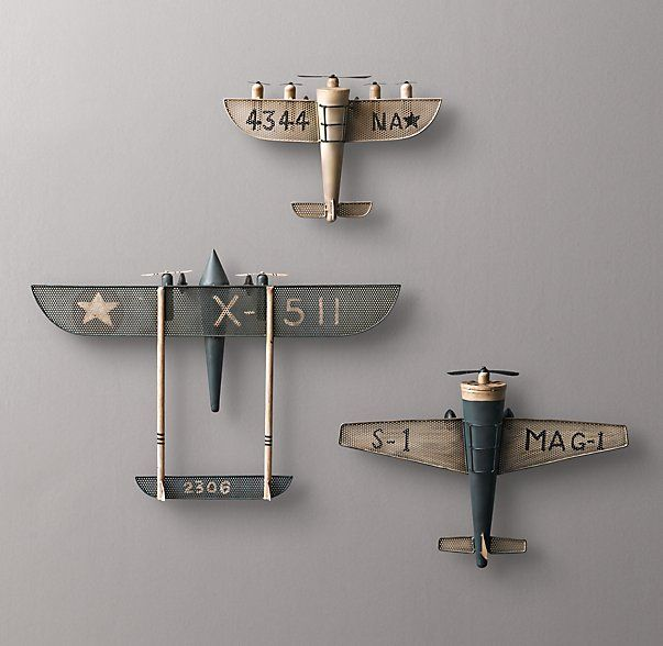 Vintage Model Airplane wall decor for nursery RH baby&child