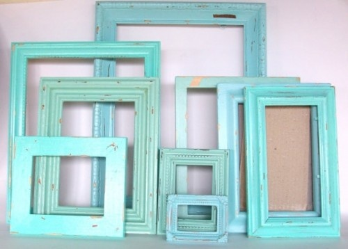 DIY frames: Paintings Frames, Color, Beaches Theme, Vintage Frames, Old Frames, Paintings Pictures, Dirt Roads, Robins Eggs Blue, Pictures Frames
