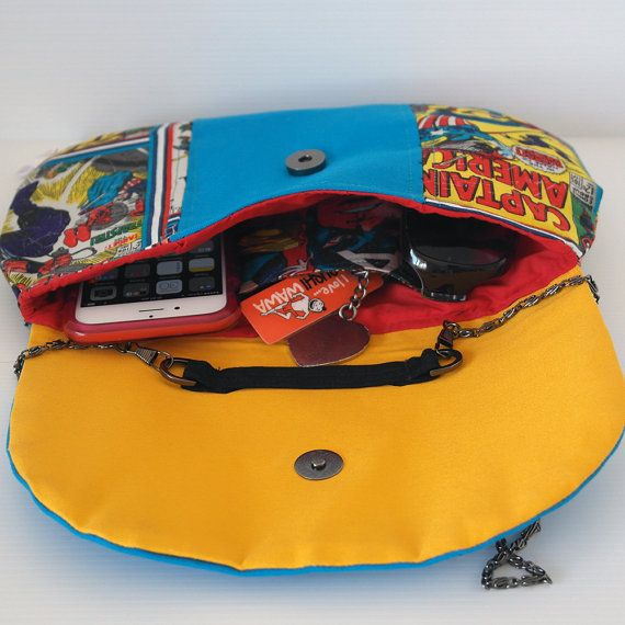 Captain America Fabric Clutch - Handmade using Marvel fabric - Comic book bag - superhero clutch - made in australia - one of a kind