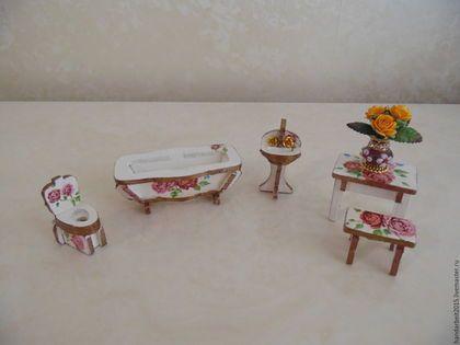 Кукольный дом ручной работы. Ярмарка Мастеров - ручная работа. Купить Набор мебели для ванной комнаты. Handmade. Белый