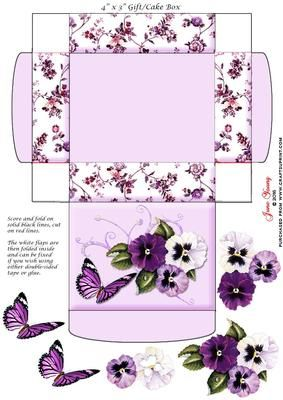 """Gift Cake Box Pansies on Craftsuprint designed by June Young - This gift/cake box is approx. 4"""" x 3"""" when made up and has floral side panels and a decorated lid. It is very simple to assemble and there is decoupage provided for the flower and butterfly decoration on the lid. - Now available for download!"""