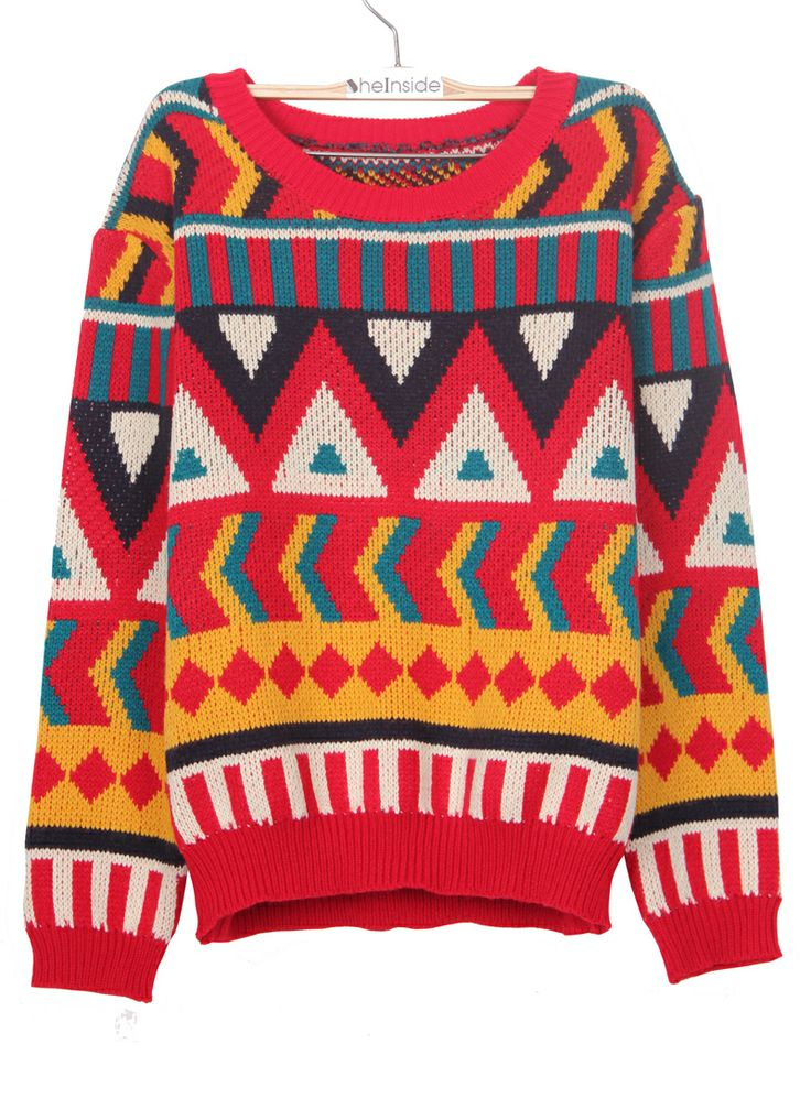 Red Round Neck Contrast Geometric Pattern Pullover Sweater - Sheinside.com