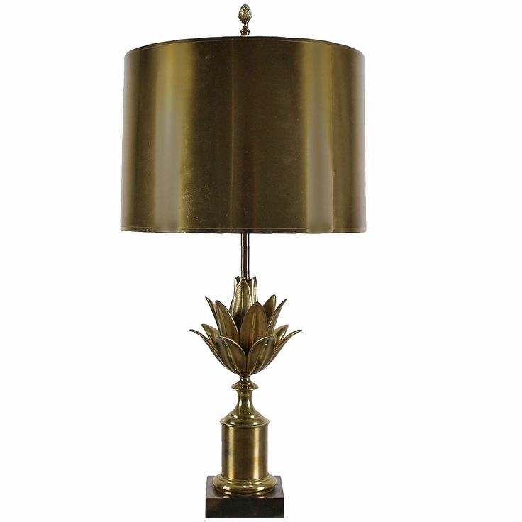 Maison charles brass lotus table lamp with metal hood from a unique collection of antique