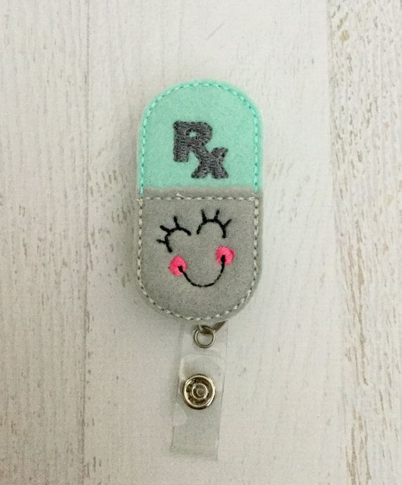 Welcome to Sugar & Ivy. Pharmaceutical pharmacy technician pharmacist ID badge reel. Dress up your ID holder / Badge reel with this adorable themed felt retractable badge reel. These make wonderful gifts for your favorite teacher, doctor, nurse, students
