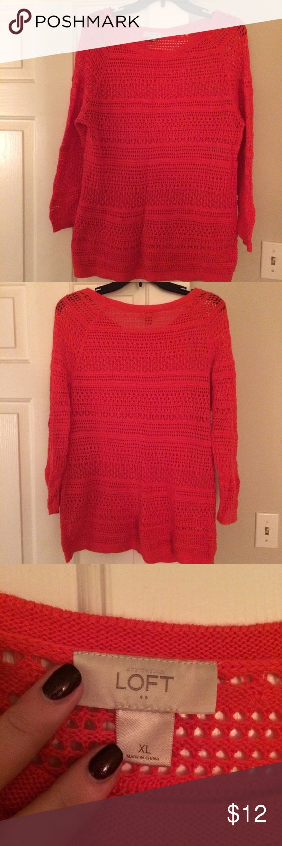 Watermelon open-stitch sweater Worn once, this vibrant watermelon-colored open-stitch sweater is from an Ann Taylor Loft Factory store. There are no pulls on the sweater. This comes from a smoke-free home. Please ask any questions! LOFT Sweaters Crew & Scoop Necks