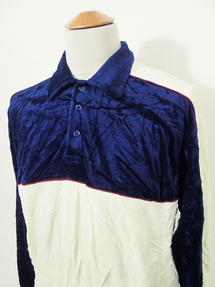 Vintage Velour 90s Indie Mod White Navy Red Stripe Polo Jumper Sweater M