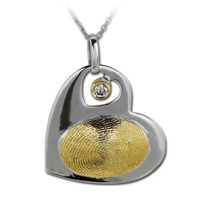 Pırlanta 18 Ayar Altın Gümüş Parmak İzi Kalp Kolye Ligia, özel tasarım kolye, hediye kolye, parmak izi koleksiyonu