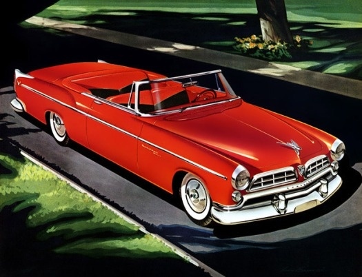 1955 Chrysler Windsor Deluxe convertible. Illustrated by Larry Baranovic.