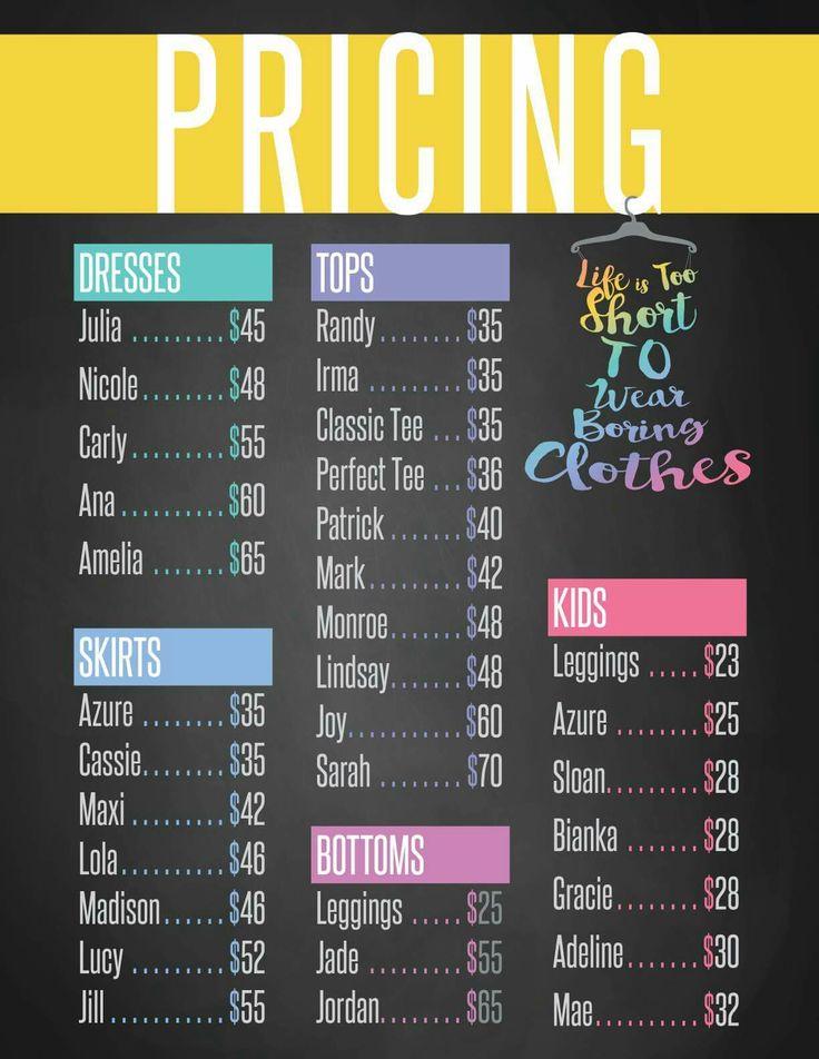 LuLaRoe Price List                                                                                                                                                                                 More