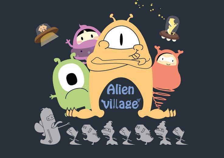 외계인 마을 일러스트 그리기 illust, allen, village, drawing, sketch, design 한국IT전문학교 웹디 구유정