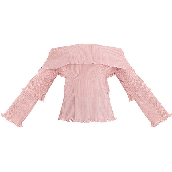 Carly Pink Pleated Bardot Frill Sleeve Blouse ($34) ❤ liked on Polyvore featuring tops, blouses, ruffle sleeve blouse, flutter sleeve blouse, ruffle sleeve top, pink blouse and pleated blouse