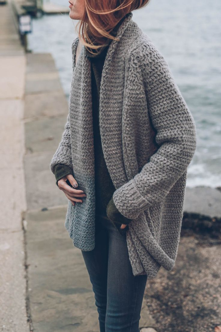 @jessannkirby's cozy take on our Mixed Stitch Open Cardigan.                                                                                                                                                                                 More