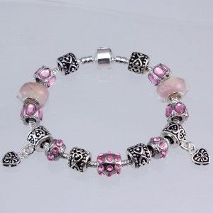 European Charms and Pink Beads Pandora Style Bracelet