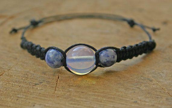 Moonstone and Brazilian Sodalite Bracelet Handmade by TriouZ, £5.79