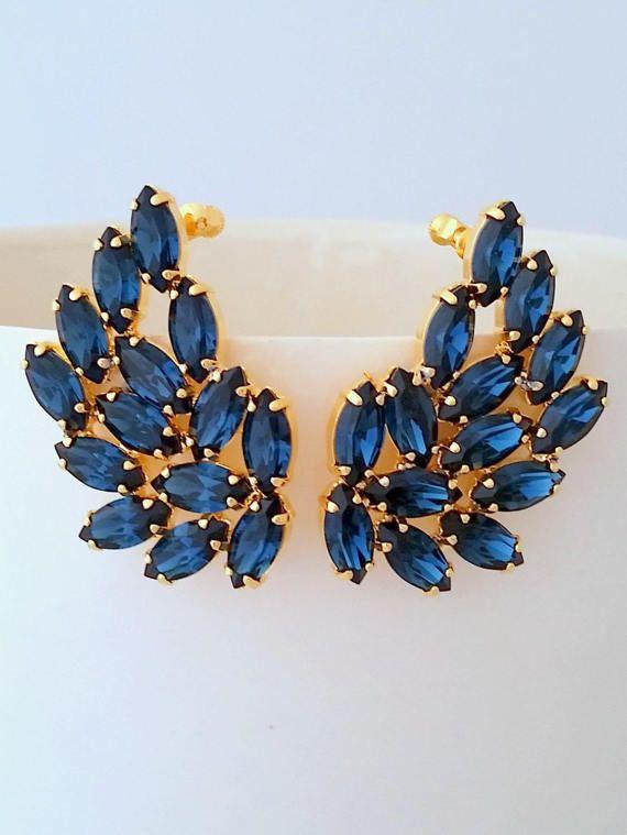 Navy blue earrings,Climbing earrings,Bridal earrings,Bridal Cluster Studs,Swarovski Bridal earrings,Wedding jewlery,Extra large earrings by EldorTinaJewelry   http://etsy.me/2mp8gfq