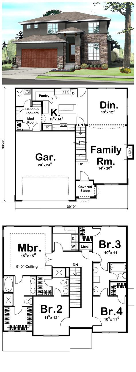 House Plan 41109 | Total living area: 2158 sq ft, 4 bedrooms & 3.5 bathrooms. Plan features include a family-friendly mud room with a catch-all cabinet, bench and locker set and a large walk-in pantry in the kitchen.