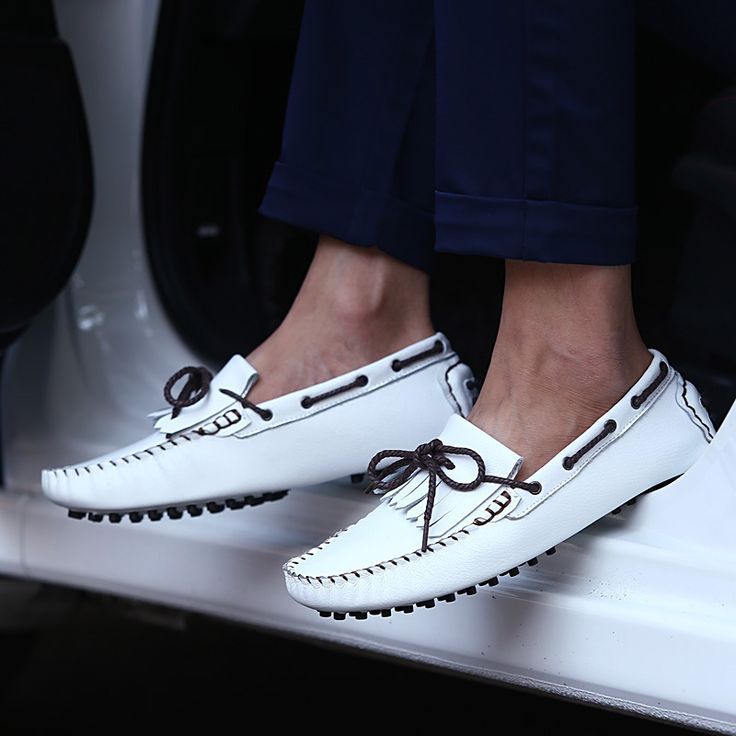 Luxury Men Loafers Shoes Comfortable Genuine Leather Men Casual Shoes Loafers High Quality White Blue Flats SMYCLZ-F0020
