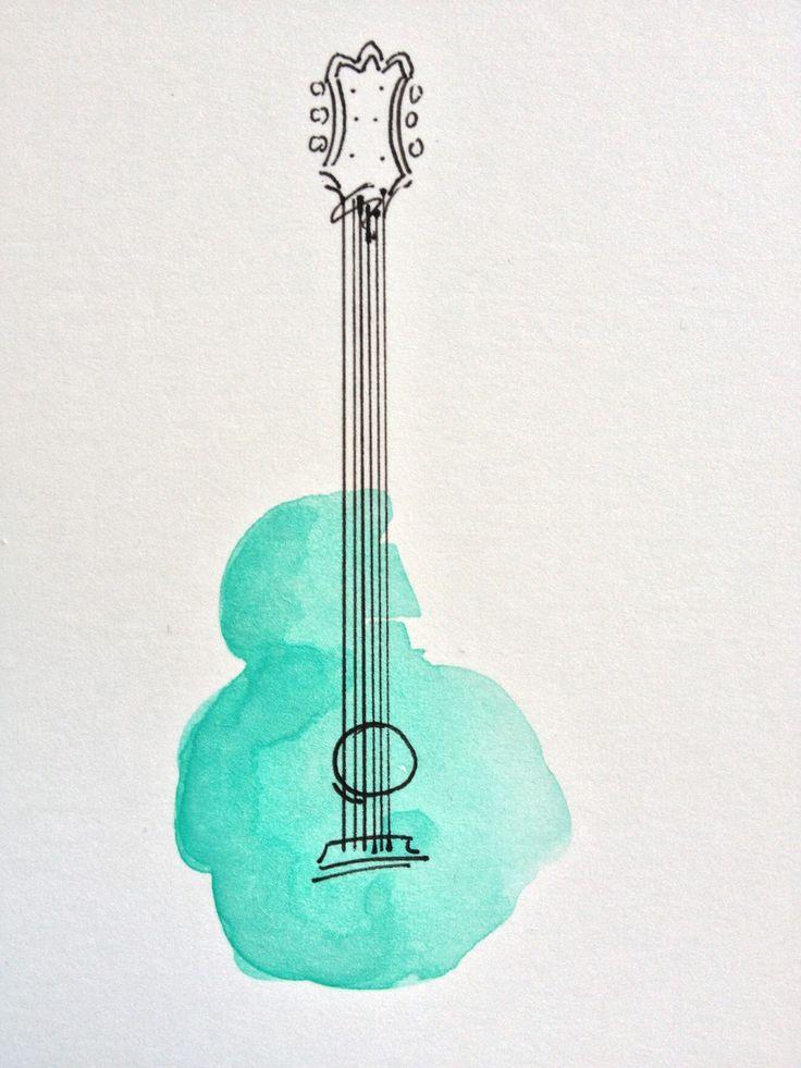 Watercolor - guitar - teal - blue - ink - pen work - simple - neck