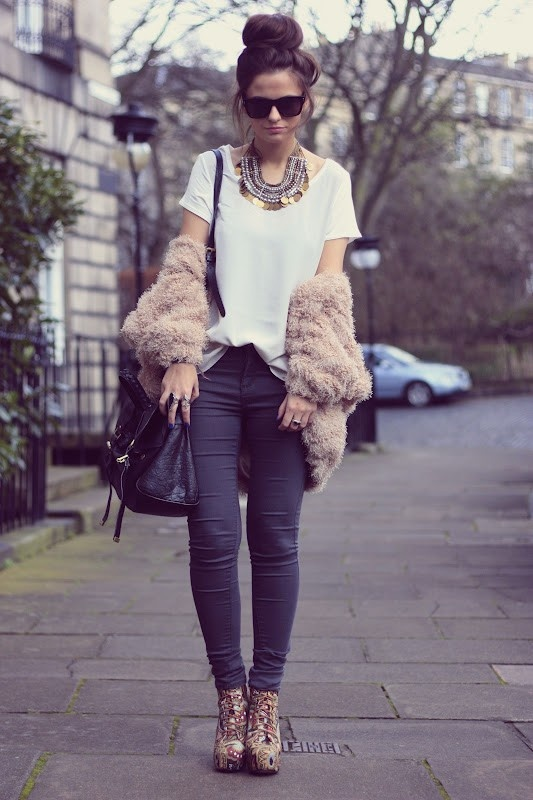 tab: Shoes, Fur Coats, High Buns, Statement Necklaces, Fashion Style, Street Style, Outfit, Socks Buns, My Style