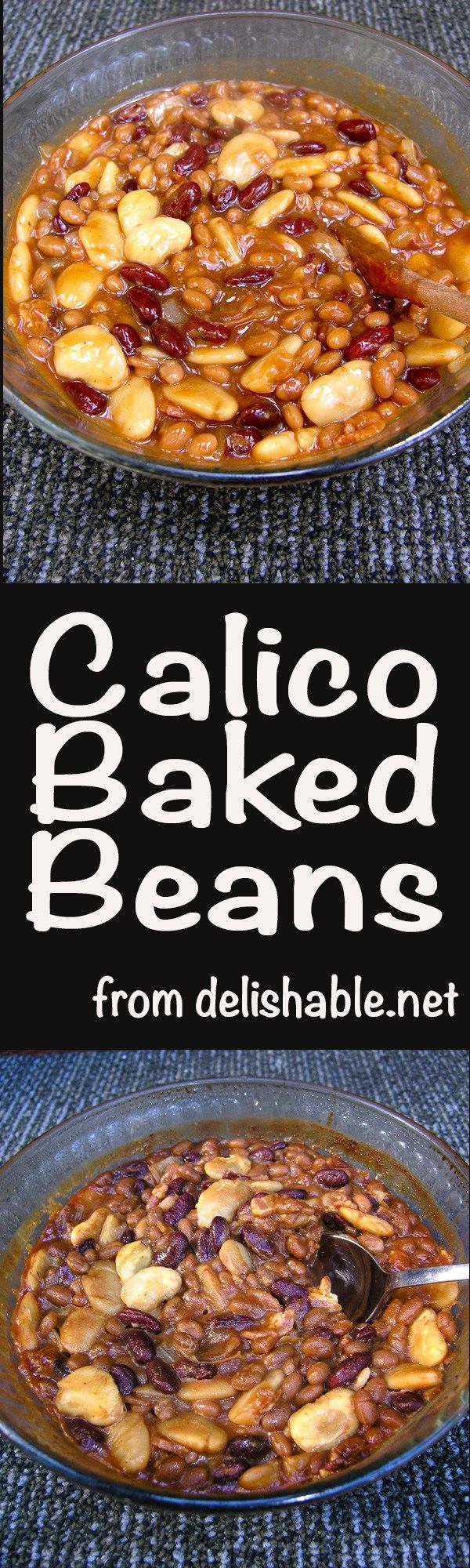 Calico Baked Beans - using canned beans makes this a quick, easy recipe. Absolutely delicious, a perfect side dish for a potlucks, picnics, or barbecues. | delishable.net