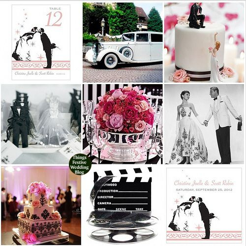 vintage hollywood wedding theme featuring Pantone's Pink Flambe.  Click image for more details.