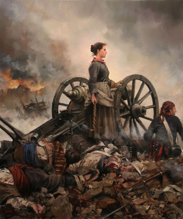 Agustina de Aragón. En la batería del Portillo de Zaragoza el 2 de julio de 1808.  Obra de Augusto Ferrer-Dalmau